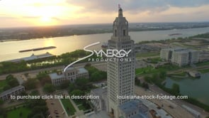 008 Epic aerial drone arc out of Louisiana State Capitol 1 to nice sunset on Mississippi river