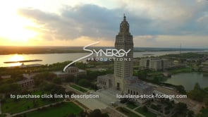 010 Awesome aerial drone arc right Louisiana State Capitol during sunset 1