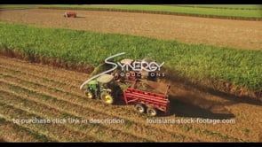 850 aerial drone view of sugar cane harvesting