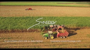 849 sugar cane harvesting aerial drone view