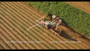 852 epic aerial ascent tractor harvesting sugarcane aerial drone video stock footage