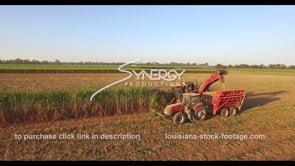 863 Nice aerial view sugar cane farmer harvesting stock footage video