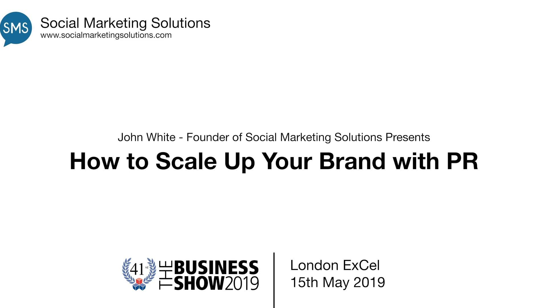 John White Business Show Speech 21.5.19