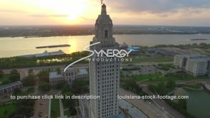 011 Louisiana State Capitol during sunset drone aerial arc right