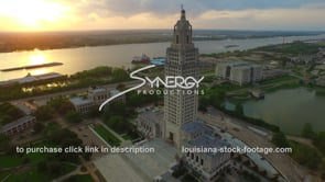 013 epic dramatic aerial dolly into Louisiana State Capitol medium shot