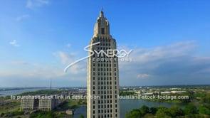 015 dramatic aerial drone boom up Louisiana State Capitol