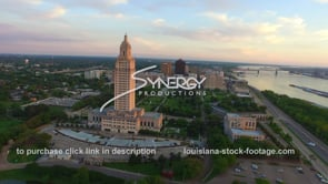016 aerial drone arc around Louisiana State Capitol with baton rouge skyline