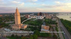 018 Baton Rouge skyline past Louisiana State Capitol aerial drone