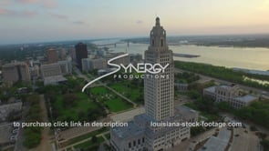 019 louisiana state capital at sunset drone aerial view