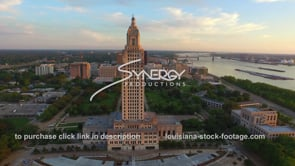 021 Awesome epic Louisiana state capital baton rouge in background drone aerial view