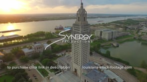 023 dramatic drone aerial louisiana state capital wide shot at sunset