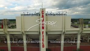 027 epic aerial drone view arc cajun field football stadium cajun dome lafayette louisiana