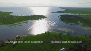 055 scenic bayou river shot near lake pontchartrain aerial drone view with fishing camp
