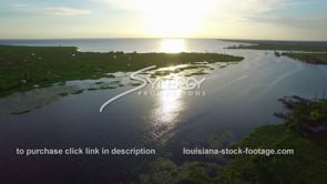 056 scenic drone aerial of lake pontchartrain area at sunset