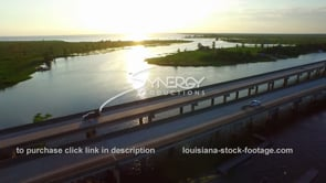 057 Nice shot of pass manchac swamp and interstate i 55 from aerial drone view