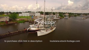 103 Nice aerial view Delcambre Louisiana shrimp boat marina dolly in