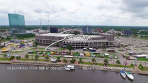 107 aerial drone view downtown Lake Charles convention center ws