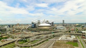 109 aerial drone view New Orleans Superdome downtown skyline ws_1
