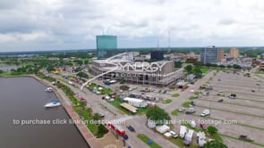 117 drone aerial Lakes Charles waterfront convention center dolly away_1