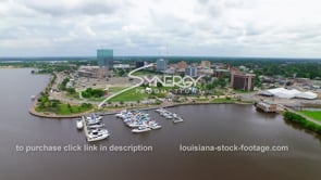 118 Very nice shot Lakes Charles downtown waterfront skyline dolly in_1