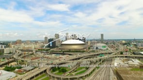 120 Nice aerial view New Orleans downtown skyline drone dolly into