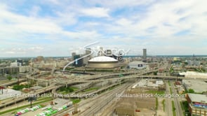 121 New Orleans downtown skyline dolly out aerial drone