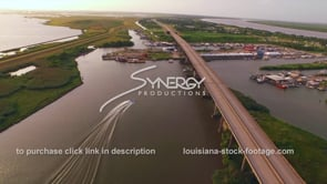 144 Epic awesome aerial drone view near fishing marina Empire Louisiana travel tourism