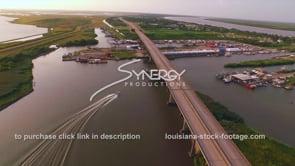 145 aerial fishing boat entering marina Louisiana travel tourism