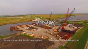 146 Louisiana Coastal restoration aerial drone view of construction site arc 1