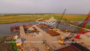 147 Louisiana Coastal restoration aerial drone view of construction site dolly in 2