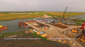 148 Louisiana Coastal restoration aerial drone view of construction site dolly in 3