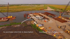 149 Coastal restoration drone aerial of construction site dolly out 1