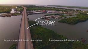 152 Louisiana fishing marina aerial view dolly in
