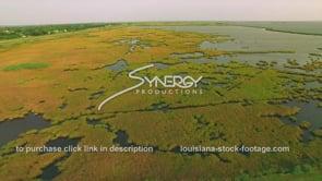155 Awesome drone view coastal marsh aerial drone arc along Louisiana gulf coast