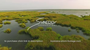 156 Epic low flying drone aerial shot Louisiana coastal marsh with egrets flying off
