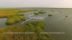 157 Epic dramatic low angle Louisiana marsh aerial view in 3