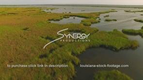158 Slow moving drone view Louisiana coastal marsh erosion aerial dolly in 4