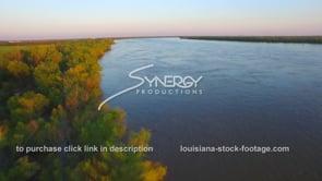 165 Epic awesome aerial shot of Mississippi river at high flood stage during springtime flooding