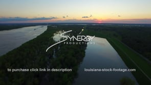 185 Very nice aerial view of swollen mississippi river sunset