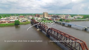 047 Epic awesome aerial drone view monroe louisiana downtown skyline reveal