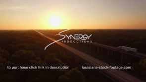 078 Nice drone aerial ascent revealing interstate 10 in henderson swamp at morning sunrise