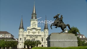 221 st louis catholic catherdral with andrew jackson statue in french quarter