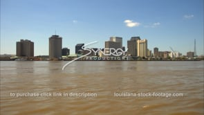 227 Tilt muddy mississippi river to new orleans downtown skyline