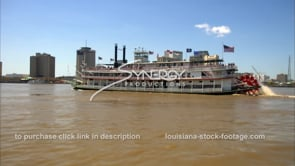 237 Super nice shot steamboat river boat with new orleans skyline in bkg