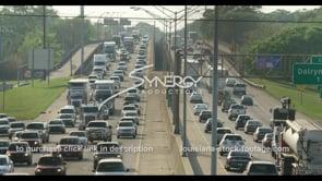 408 Major Epic Baton Rouge interstate traffic pan right video stock footage