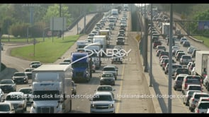 407 CU of Baton Rouge interstate traffic pan right video stock footage