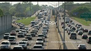 406 Baton Rouge interstate 10 massive traffic pan right stock footage video