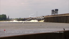 1302 morganza spillway open video from high rising Mississippi River stock footage