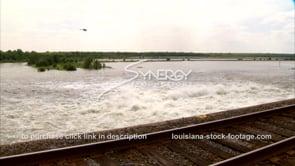 1309 railroad tracks over flooding Morganza spillway farmland and crops