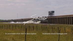 1313 Morganza spillway opening video Mississippi River flooding farmland stock footage